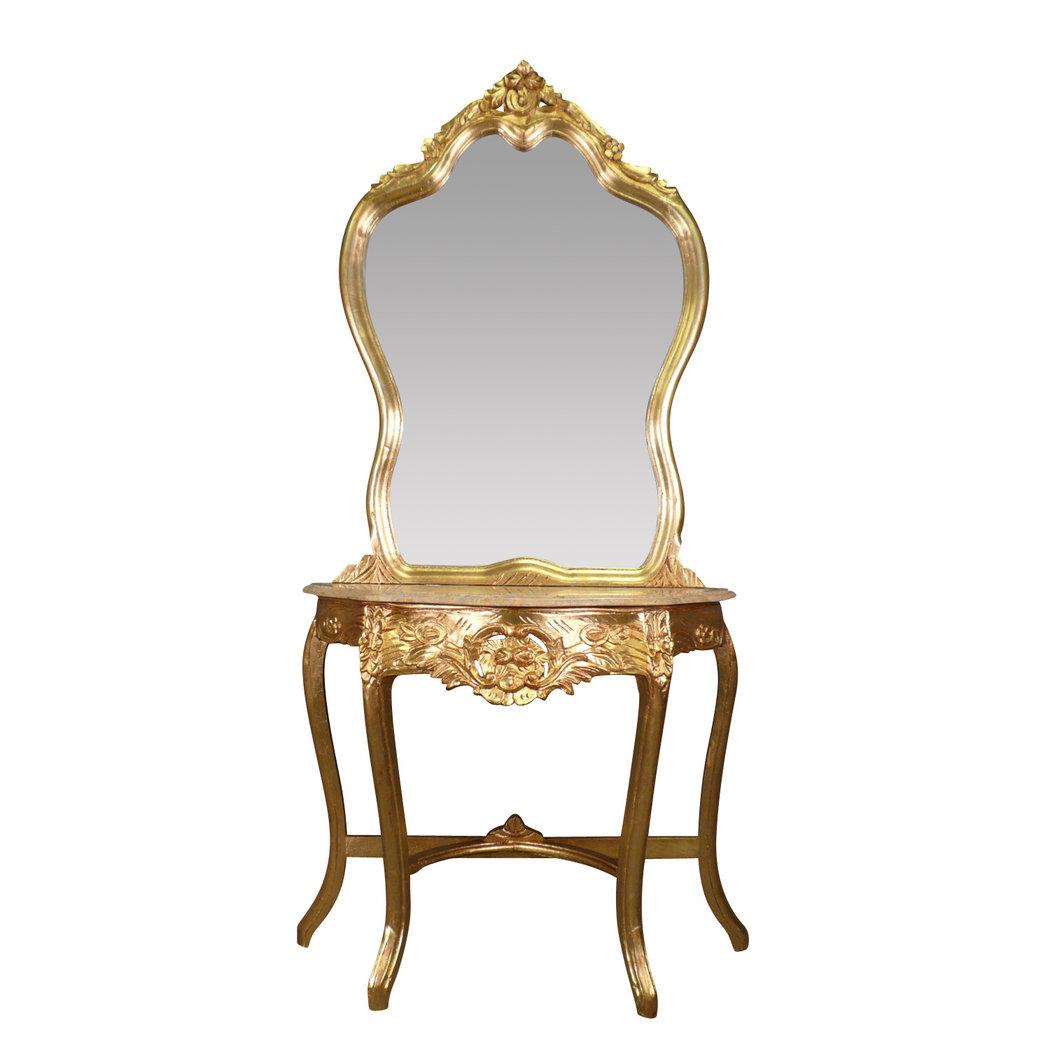 console baroque dor e surmont e d 39 un mirroir. Black Bedroom Furniture Sets. Home Design Ideas