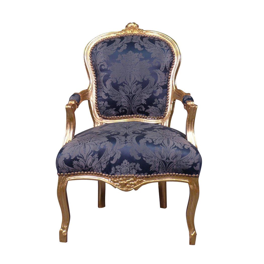 Fauteuil louis xv bleu rococo meuble et canap baroque for Meuble louis xv