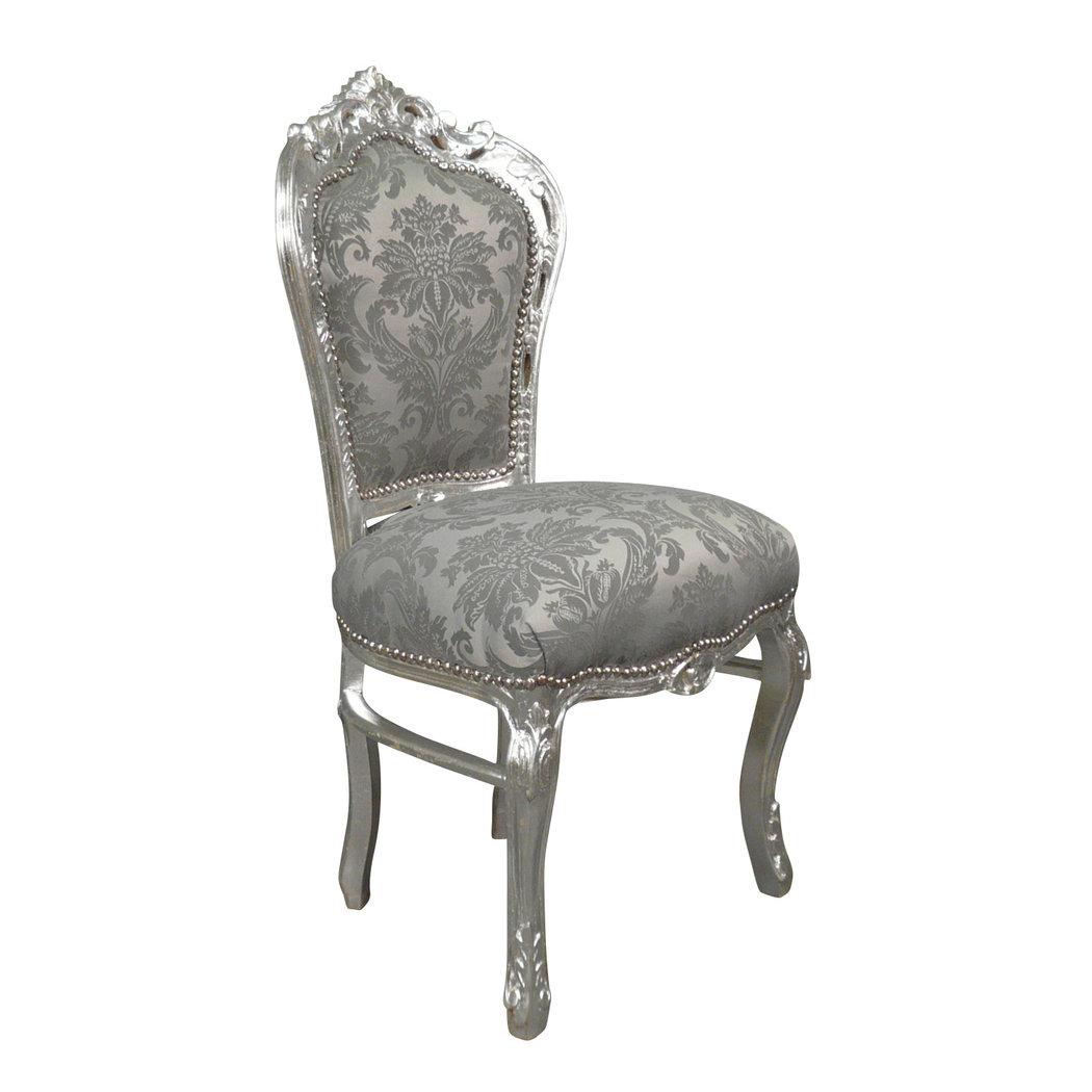 Chaise baroque argent rococo meuble baroque for Chaise baroque avec accoudoir