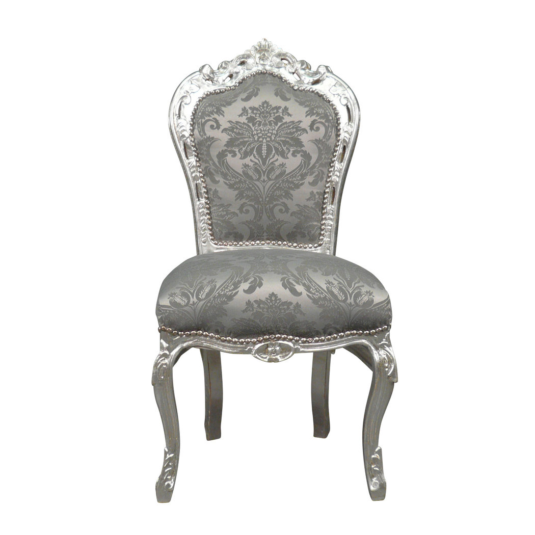 Silver baroque chair rococo baroque furniture for Chaise baroque avec accoudoir
