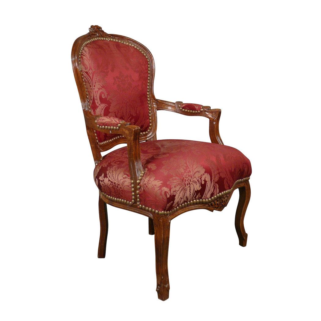 fauteuil louis xv rouge rococo en bois meuble baroque. Black Bedroom Furniture Sets. Home Design Ideas