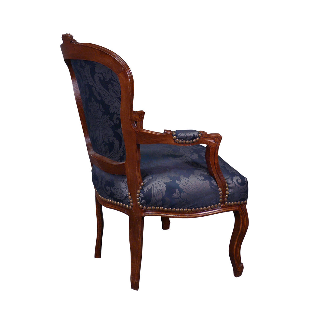 fauteuil louis xv bleu en bois meuble et canap baroque. Black Bedroom Furniture Sets. Home Design Ideas