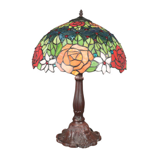 Tiffany lamp with red roses