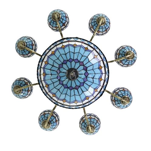 lampadario tiffany : Lampadario Tiffany Monaco otto luci - Lampade Tiffany art deco