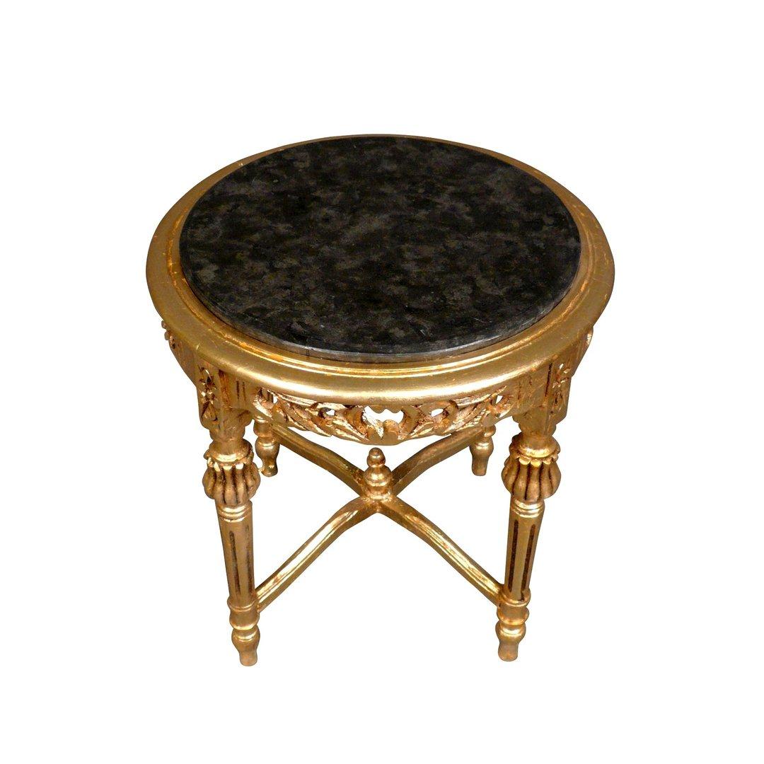 Sellette petite table baroque ronde en bois dor for Petite table ronde bois