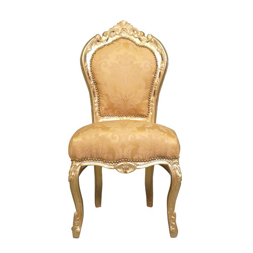 Baroque chair in gilt satin fabric