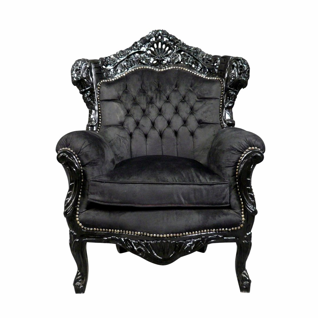 fauteuil baroque en velours noir meubles baroques. Black Bedroom Furniture Sets. Home Design Ideas