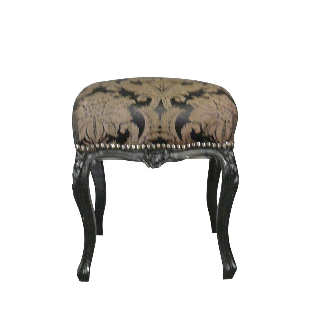 Pouf baroque noir tissu rococo meubles baroques - Meuble baroque pas cher belgique ...
