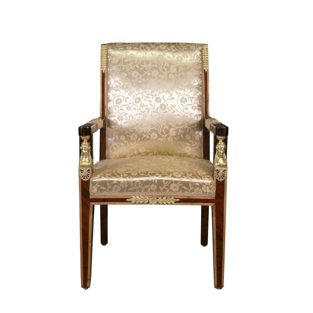 fauteuil empire en acajou et tissu fleuri avec des bronzes dor s. Black Bedroom Furniture Sets. Home Design Ideas