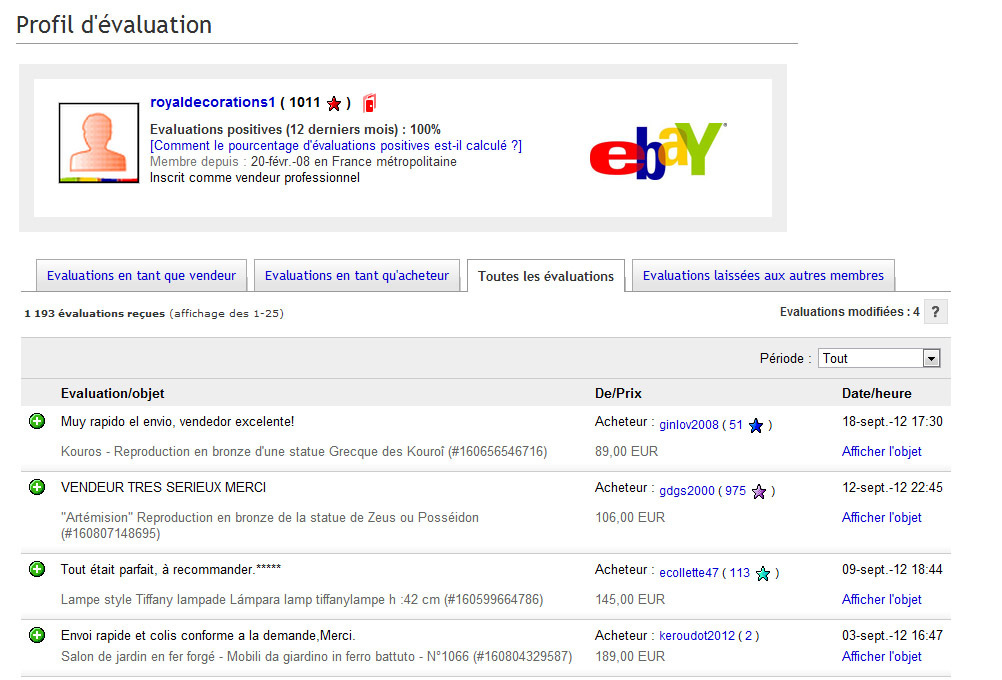 Royaldecorations avis clients sur ebay et forum