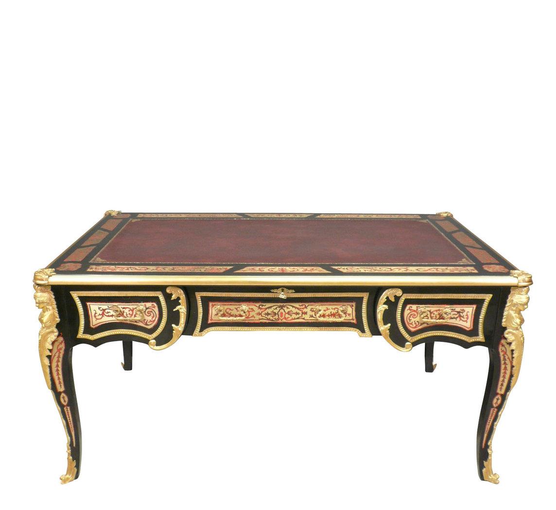 Bureau louis xv en marqueterie boulle meubles de style for Meuble bureau louis xv