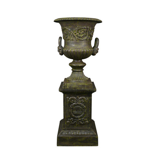 Vase Medicis and pedestal cast iron