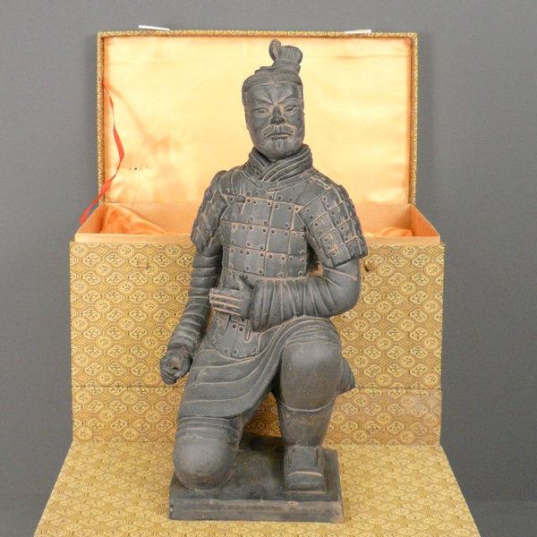 Amoy-Art Terre Cuite Soldats Guerriers Decoration Maison Cadeaux Fait Main Statue Sculpture D/écoratif Souvenirs Giftbox S/écurit/é Peinture pour Enfants R/ésine 24cmH
