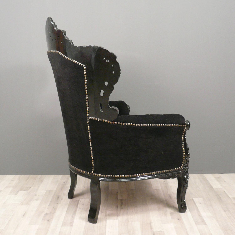Fauteuil baroque noir fauteuils baroques - Chaise baroque noir ...
