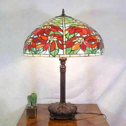 Tiffany style lamp with poinsettias