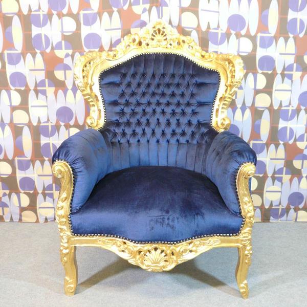 fauteuil baroque bleu nuit meubles art d co lampe tiffany fauteuil baroque vase m dicis. Black Bedroom Furniture Sets. Home Design Ideas