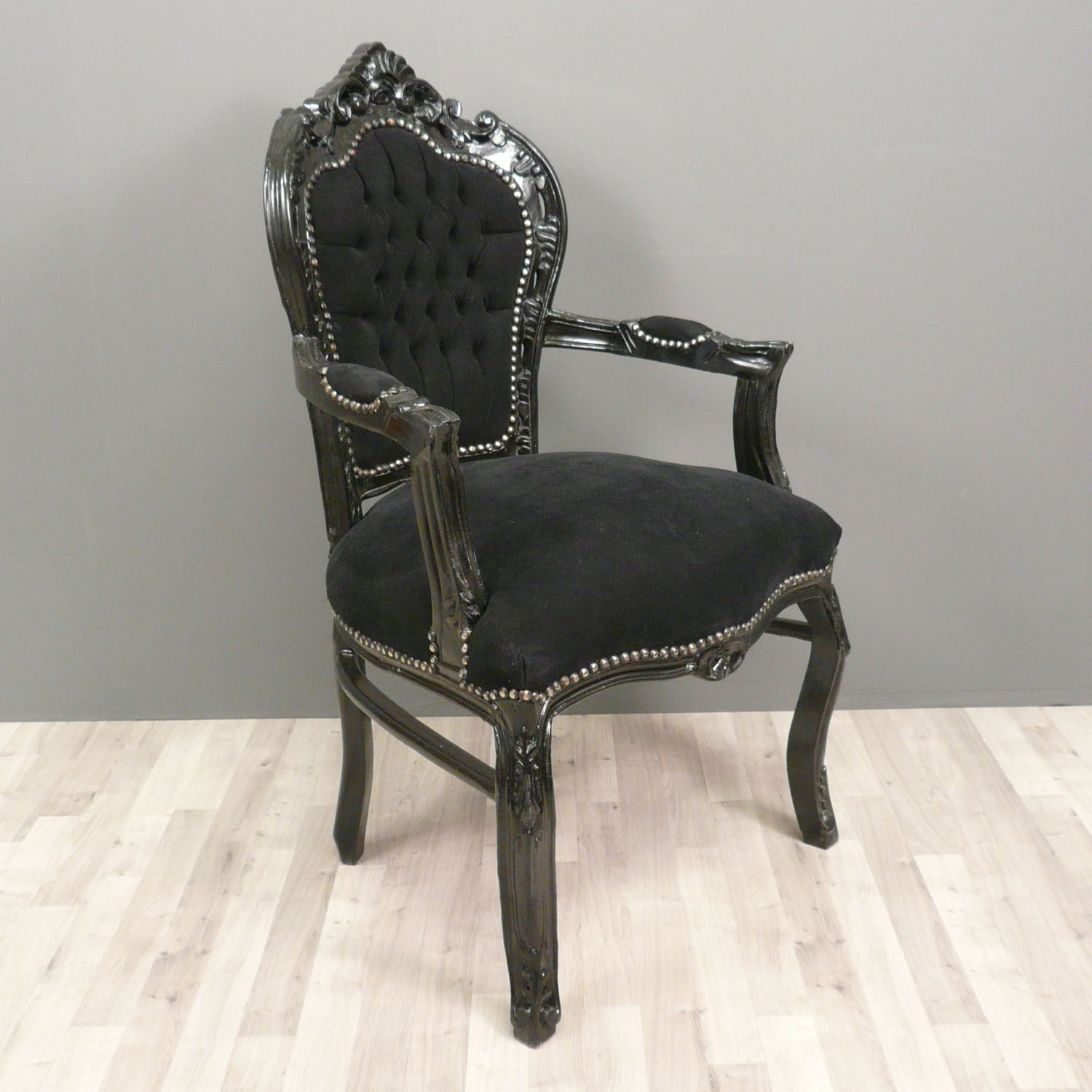 Black baroque armchair chairs - Chaise baroque ...