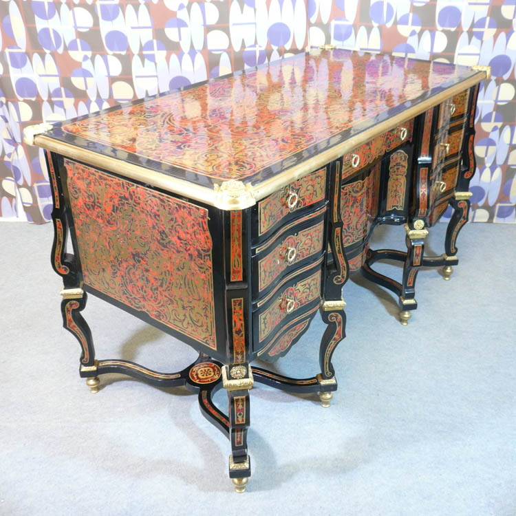 Louis xiv style desk said mazarin tiffany lamps bronze for Chaise style louis xiv