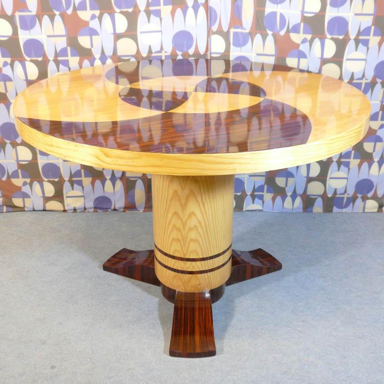 Round table style art deco salon tiffany lamps bronze for Style deco salon