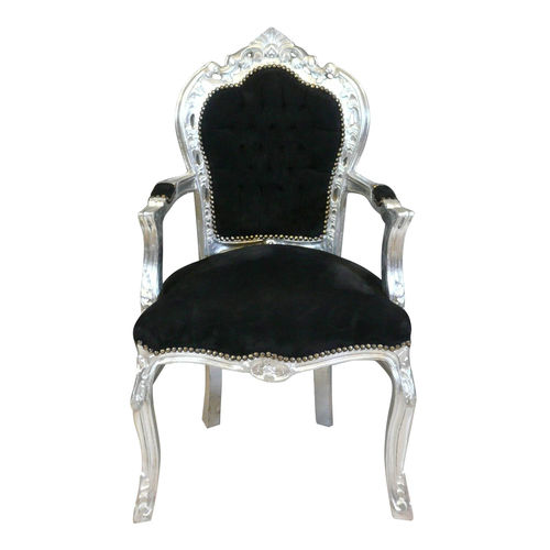Baroque armchair black and silver