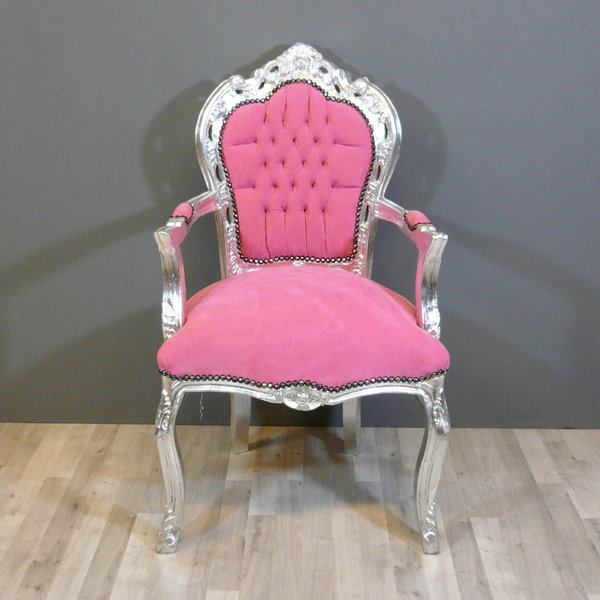 Baroque Armchair Pink And Silver