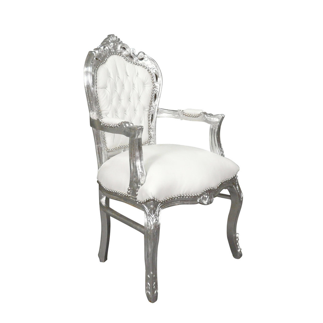 fauteuil baroque blanc et argent meuble baroque. Black Bedroom Furniture Sets. Home Design Ideas
