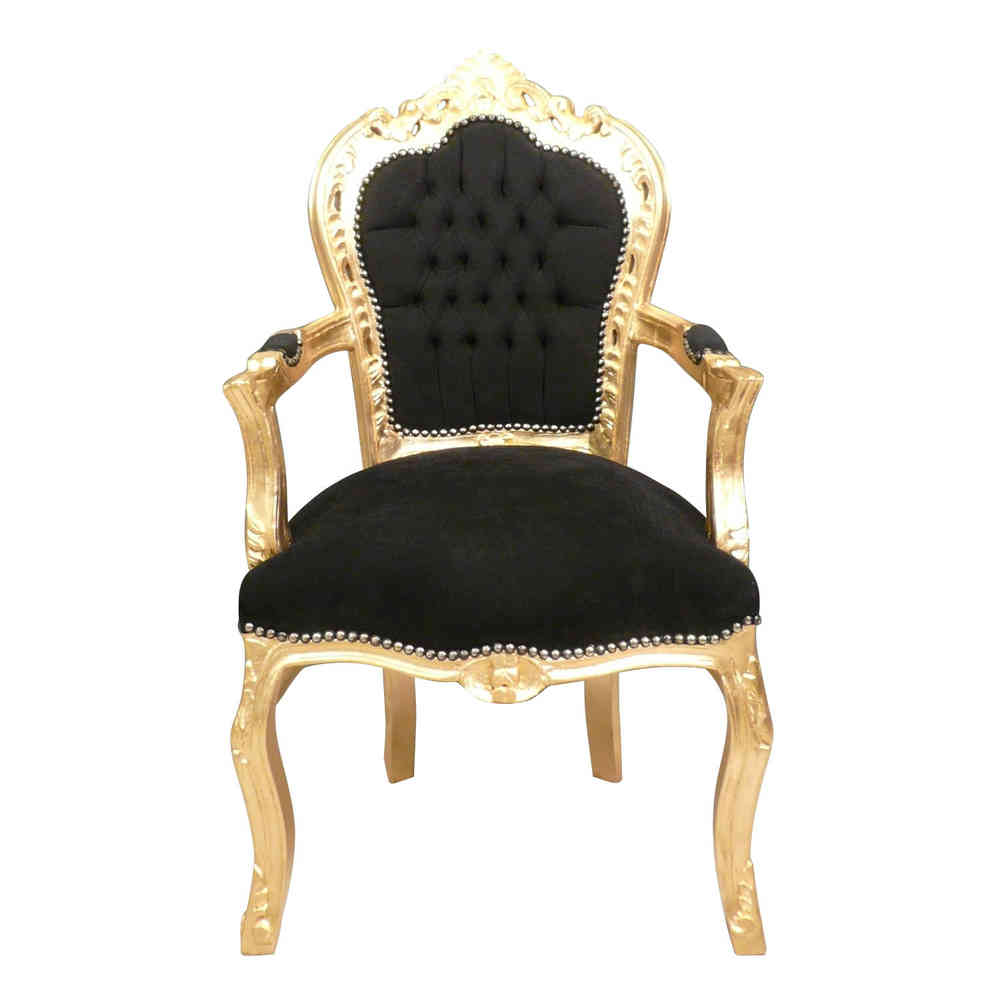 Attractive Baroque Armchair Black And Gold