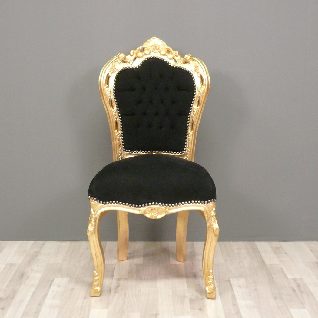 chaise baroque noire et or with chaises noires pas cher. Black Bedroom Furniture Sets. Home Design Ideas