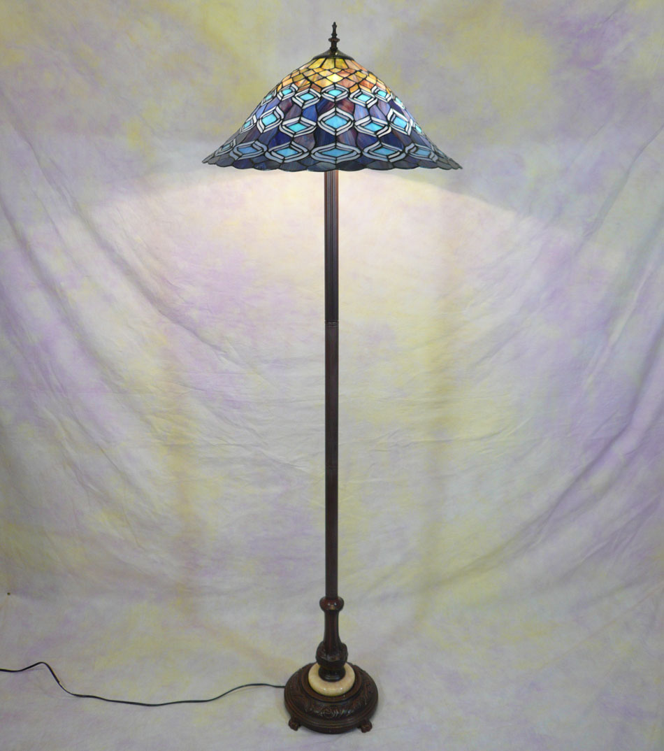 Peacock tiffany style floor lamp art deco tiffany for Tiffany style arroyo floor lamp