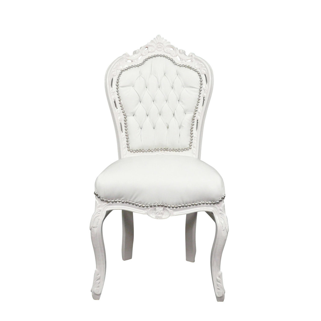 Chaise baroque banche en simili cuir meubles baroque for La chaise blanche