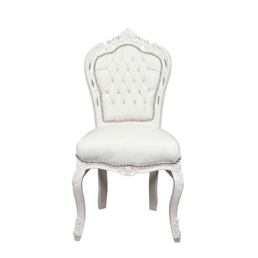 Chaise Baroque Blanche En PVC Blanc