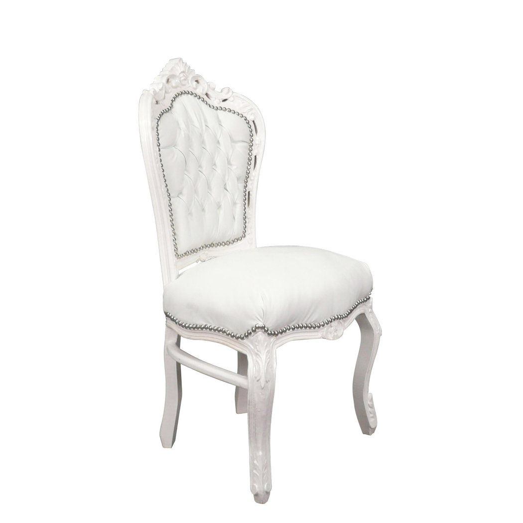 White Baroque Chair In White Pvc Baroque Furniture