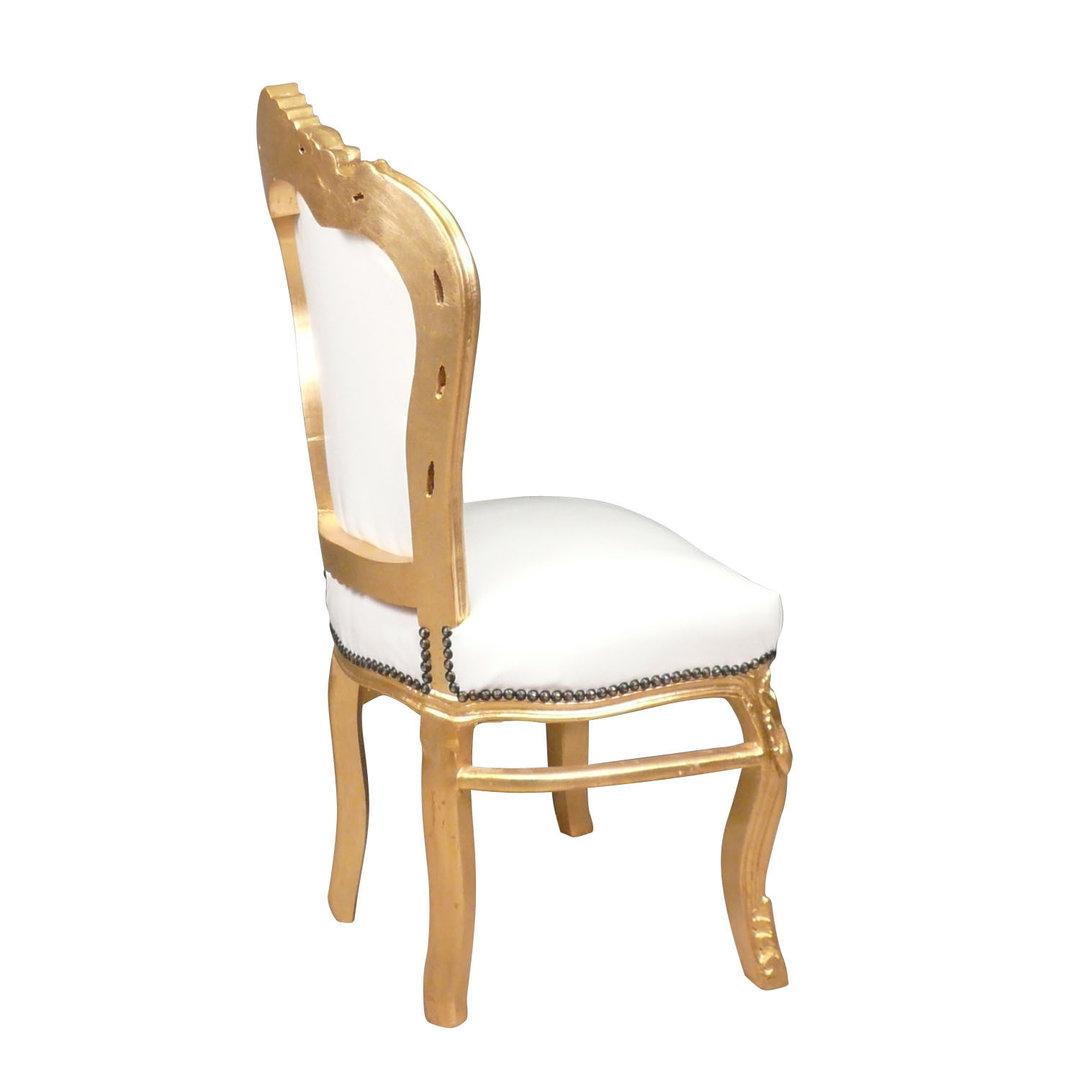 Chaise baroque banche et or Canapé baroque