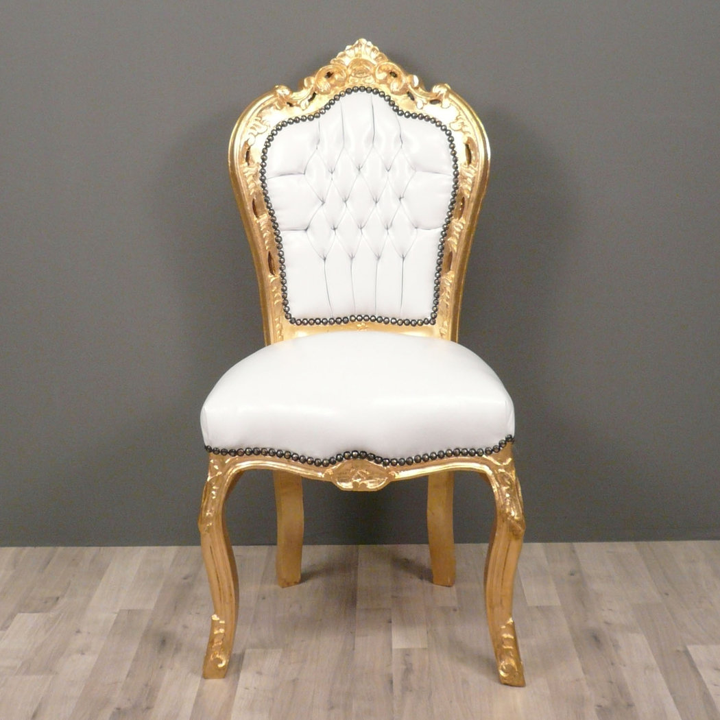 Chaise baroque banche et or canap baroque for Table et chaise baroque
