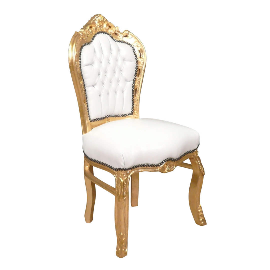 Chaise baroque banche et or canap baroque for Chaise prix