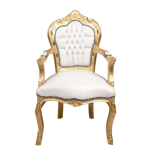 Baroque armchair white and gold