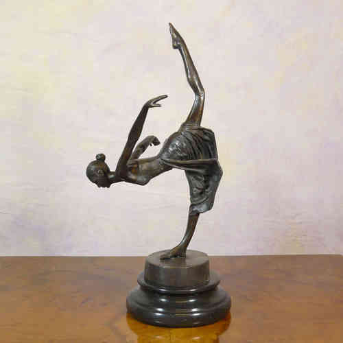 "Dancer ""reverence"" bronze statue art deco"