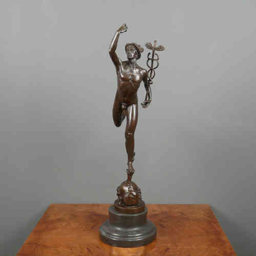 Mercury / Hermes flying - Bronzestatue