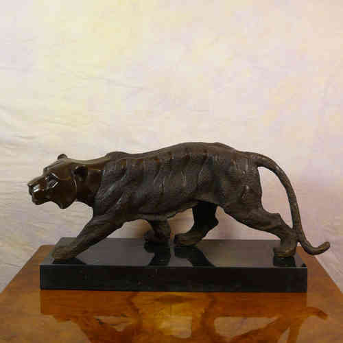 Camminando la tigre - art deco Bronze
