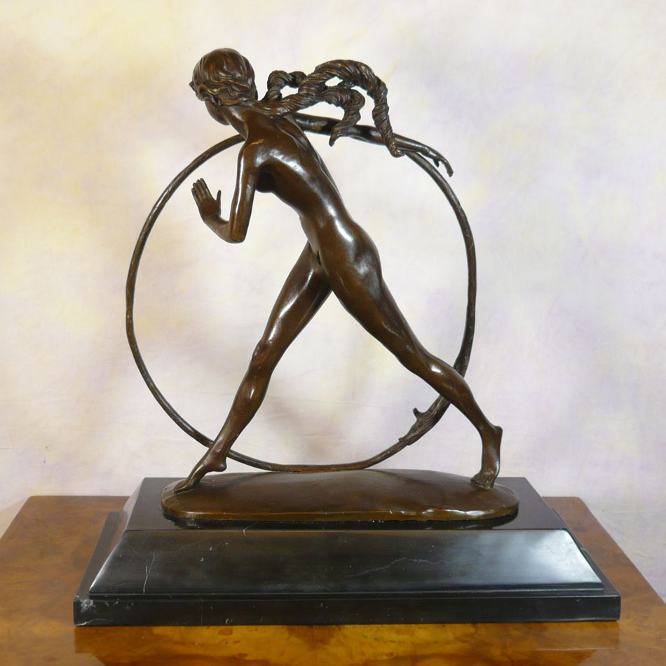 Hoop dancer art deco bronze sculpture statue for Statue deco salon