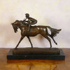 Jockey at full speed - Bronze Sculpture