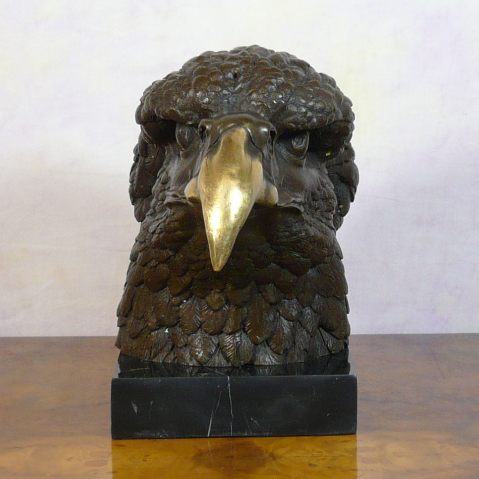 Eagle Head On Marble Base Bronze Statue Sculptures