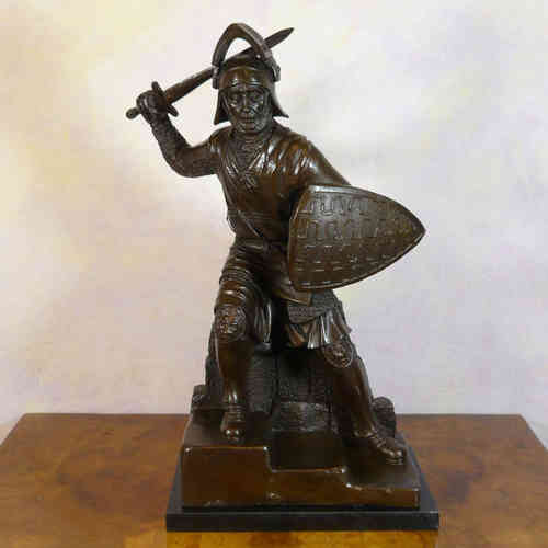 Sculpture in bronze of a medieval warrior