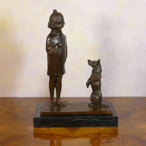 Bronze sculpture a little girl and her dog