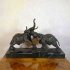 Elephants fighting - bronze statue