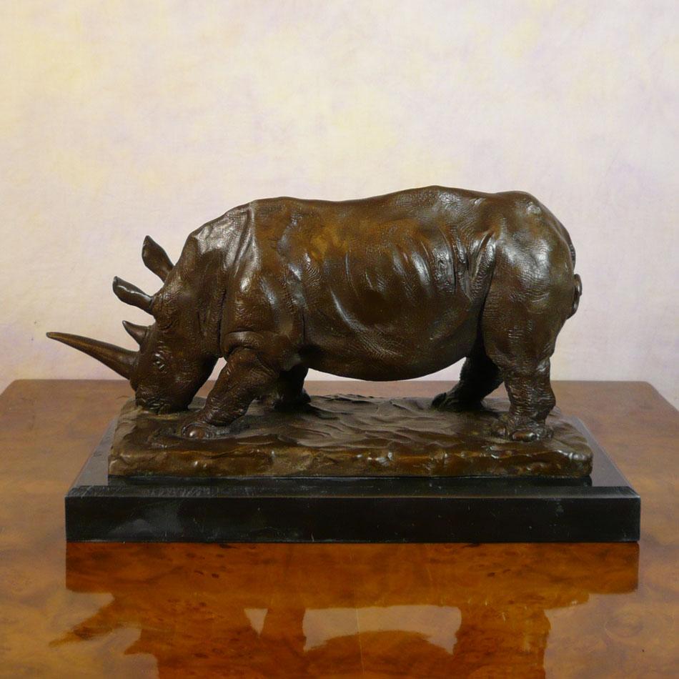 Bronze Sculpture Of A Rhinoceros Sculptures Of Animals