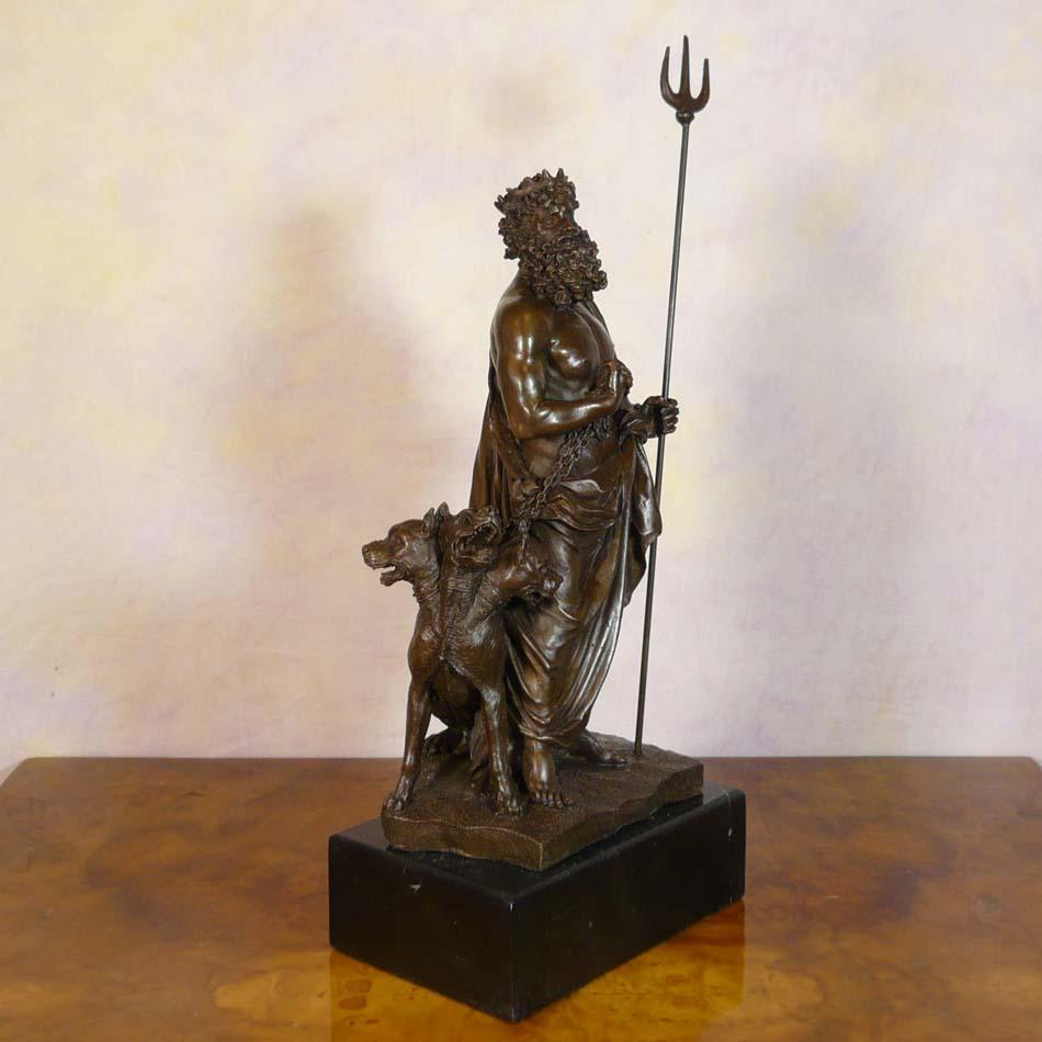 pluton chaining cerberus bronze statue sculptures
