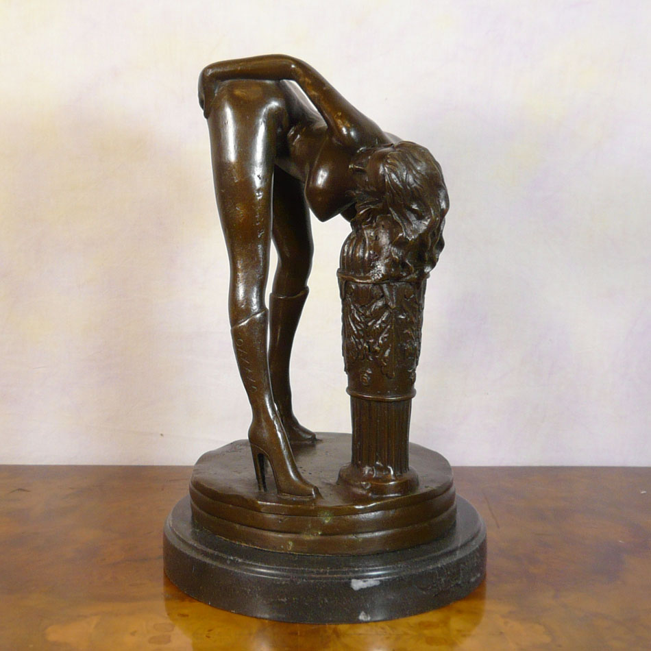 Erotic bronze sculpture of a naked woman - Statues Art Deco