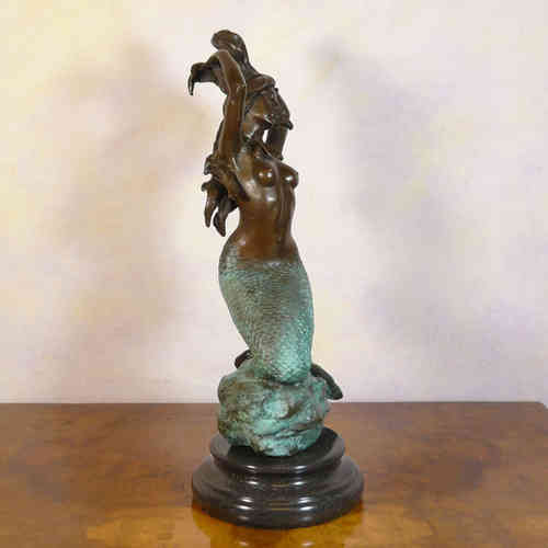 Bronze statue of a mermaid - two bronze patina