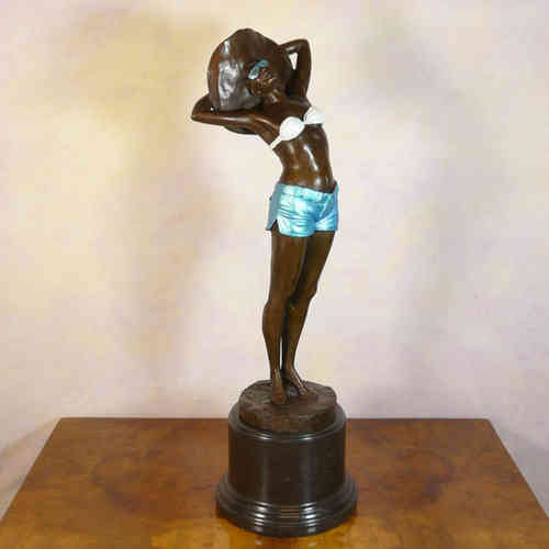 Bronze statues art deco bronze sculpture - Statuette art deco femme ...
